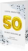 Felicitatiekaart 50ste verjaardag man met cijferballonnen