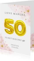 Felicitatiekaart 50ste verjaardag met gouden balloncijfers