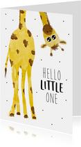 Felicitatiekaart bij een geboorte met giraffe
