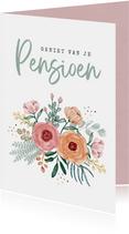 Felicitatiekaart bloemen pensioen vrouw confetti foto