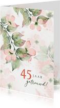 Felicitatiekaart botanisch met roze bloemen