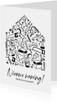 Felicitatiekaart doodle voor nieuwe woning