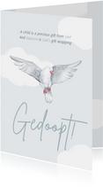 Felicitatiekaart doopsel witte duif wolkjes