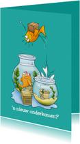 Felicitatiekaart een nieuw onderkomen met vissenkom