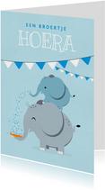 Felicitatiekaart geboorte broertje olifant beschuitje feest