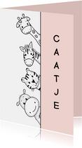 Felicitatiekaart geboorte dieren kijkend om het hoekje roze