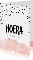 Felicitatiekaart geboorte dochter roze waterverf