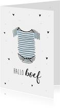 Felicitatiekaart geboorte jongen hallo boef met romper