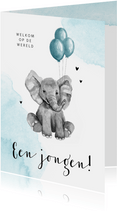 Felicitatiekaart geboorte jongen olifantje blauw waterverf