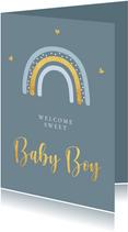 Felicitatiekaart geboorte jongen regenboog goudlook
