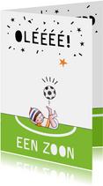 Felicitatiekaart geboorte jongen voetbal illustratie