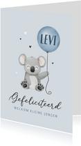 Felicitatiekaart geboorte koala ballon hartjes jongen