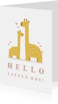 Felicitatiekaart geboorte meisje giraffes met hartjes