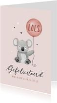 Felicitatiekaart geboorte meisje koala ballon hartjes