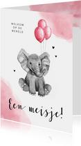 Felicitatiekaart geboorte meisje olifant ballon waterverf