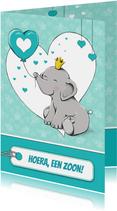 Felicitatiekaart geboorte zoon met olifant en ballon