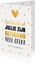 Felicitatiekaart getrouwd typografie hartjes goudlook