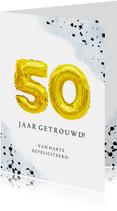 Felicitatiekaart gouden huwelijk 50 jaar cijferballon