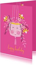 Felicitatiekaart happy hangplant bloemen roze