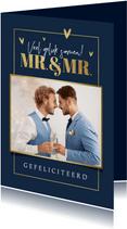 Felicitatiekaart huwelijk gay homo mr. and mr. foto hartjes