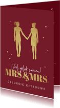 Felicitatiekaart huwelijk gay mrs and mrs silhouet vrouwen