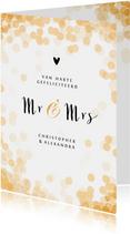 Felicitatiekaart huwelijk mr and mrs goud confetti stijlvol