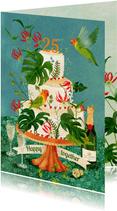 Felicitatiekaart huwelijks jubileum versierde taart