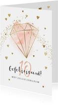 Felicitatiekaart huwelijksjubileum met diamant en hartjes