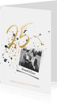 Felicitatiekaart jubileum '25' met spetters en foto
