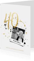 Felicitatiekaart jubileum '40' met spetters en foto