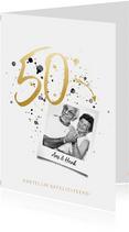 Felicitatiekaart jubileum '50' met foto en spetters