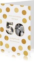 Felicitatiekaart jubileum fotocollage '50' met confetti