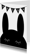 Felicitatiekaart konijn zwartwit
