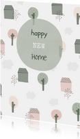 Felicitatiekaart met geïllustreerde huisjes, bomen en wolken