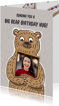 Felicitatiekaart met grote beer met foto