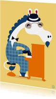 Felicitatiekaart met piano spelend paard