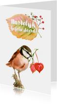 Felicitatiekaart met roze vogel en lampionnetjes-hartjes