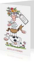 Felicitatiekaart met stapel dieren en bos bloemen