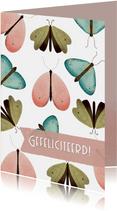Felicitatiekaart met vlinder patroon