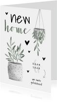 Felicitatiekaart new home met planten en hartjes