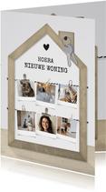 Felicitatiekaart nieuw huis met houten huisje en fotocollage