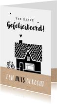 Felicitatiekaart nieuwe woning huis gekocht huis fiets