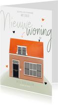 Felicitatiekaart nieuwe woning huis illustratie en hartjes