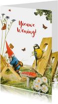 Felicitatiekaart nieuwe woning kabouter en vogelhuis
