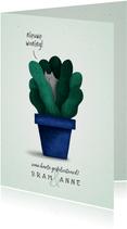 Felicitatiekaart 'nieuwe woning' met plant en kat