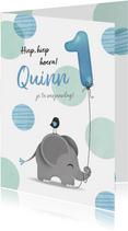Felicitatiekaart olifantje jongen 1 jaar