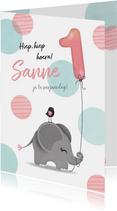 Felicitatiekaart olifantje meisje 1 jaar