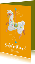 Felicitatiekaart pastel carrousel lama