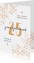 Felicitatiekaart trouwdag 25 jaar getrouwd ringen goud