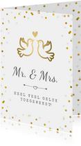 Felicitatiekaart trouwen met gouden duifjes en confetti